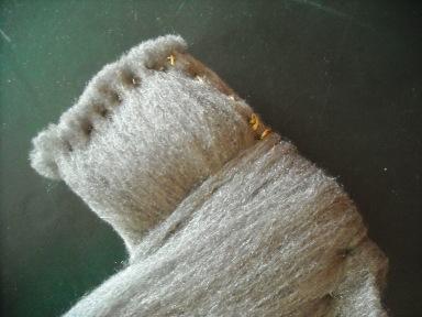 lana di ferro, tarlatana e filo d'oro- particolare
